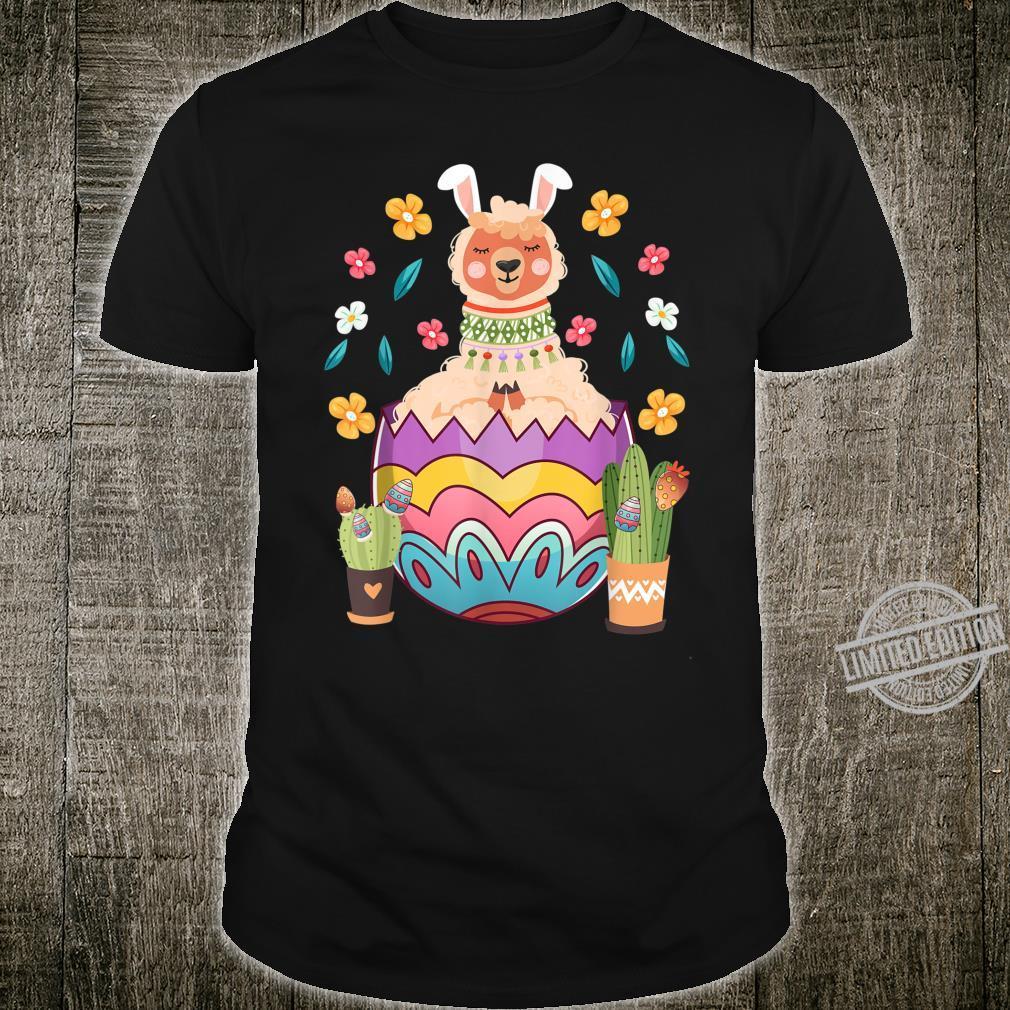 Funny Easter llama Bunny Ears Cute llama Easter Egg Shirt