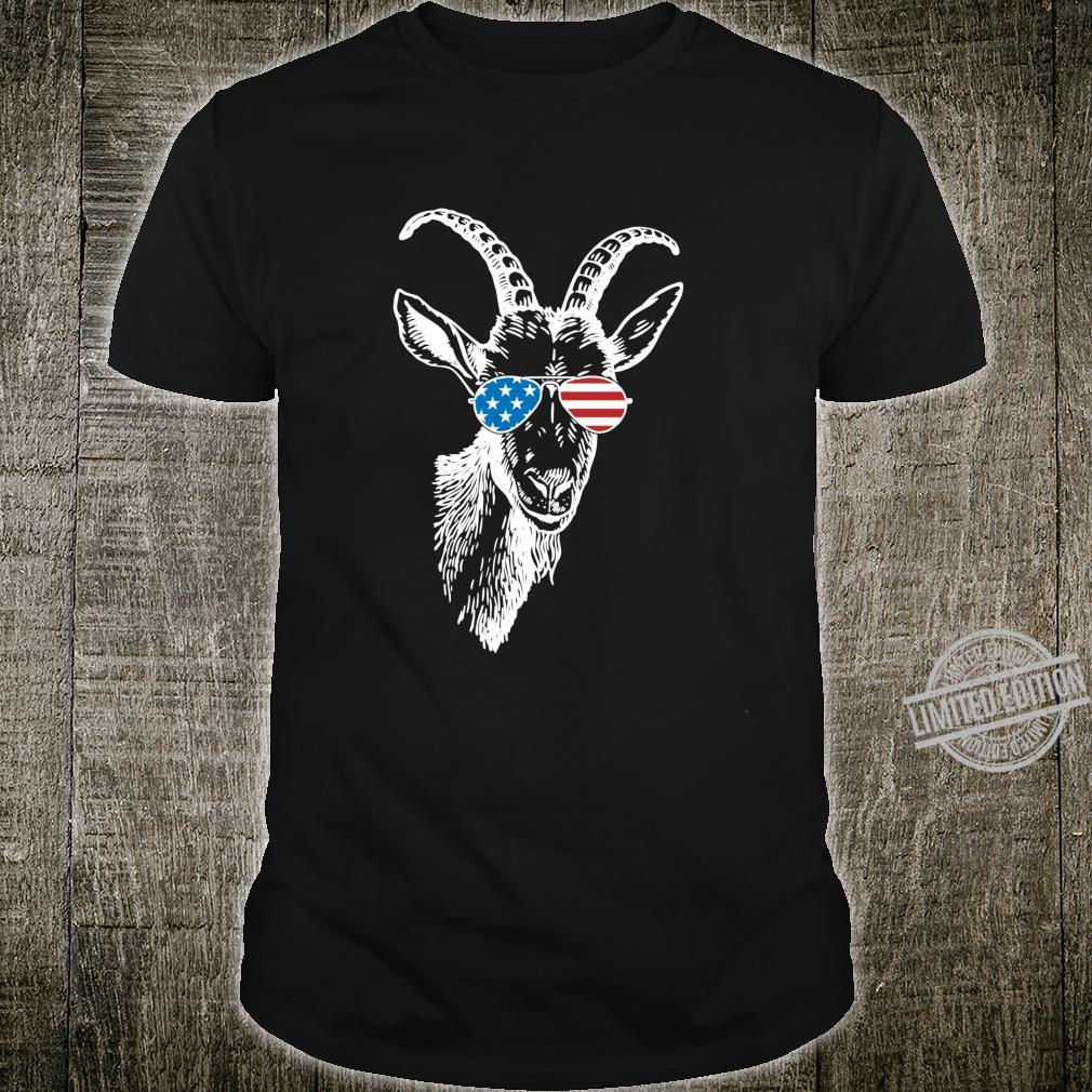 Funny Goat Patriotic USA Flag Aviator Glasses Design Shirt