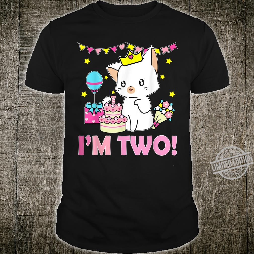 Kawaii Cat and Cake Birthday 2 Years Old Girls Shirt